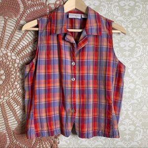 Vintage Edward Silk Plaid Sleeveless Button Down